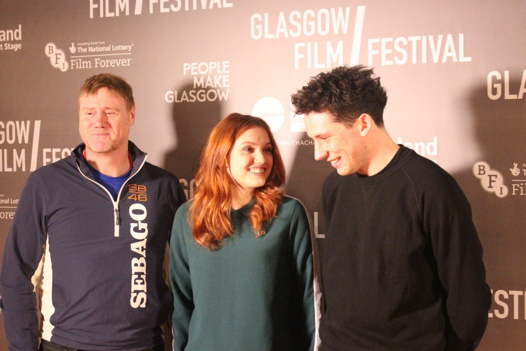 Stephen Waddington, Hannah Murray and Josh O'Connor in Glasgow to support Bridgend. (pic: Paul Gallagher)