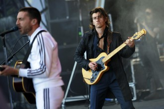 The Last Shadow Puppets perform on the Main Stage stage on the second day of the 2016 T In The Park Festival at Strathallan Castle in Perthshire.  9/7/16  Pictures © Andy Buchanan 2016