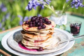 Three Sisters Bake blueberry pancake stack recipe