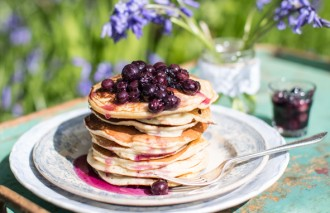 Pancakes with Blueberry Compote