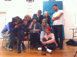 Paul, centre, surrounded by Blood of the Young in rehearsals.