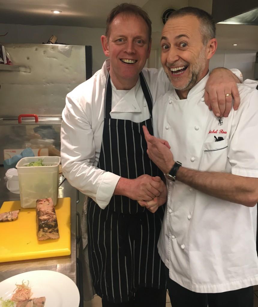 Brian Maule and Michel Roux Jr at Le Chardon d'Or