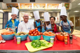 (L-R) James Wood (aged 10), Gary McLean, Fafou Conteh (aged 9), Isafou Counteh (aged 5), chef consultant Donna Borokinni, Sheriff Counteh (aged 9)
