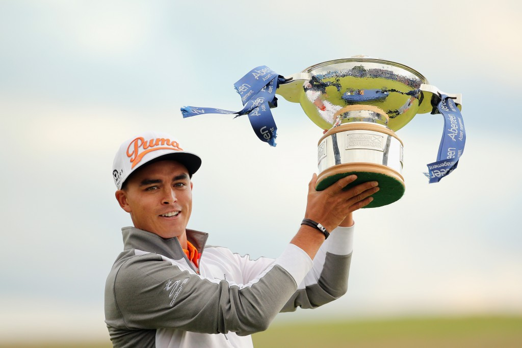 Rickie Fowler after winning the Aberdeen Asset Management Scottish Open at Gullane Golf Club in 2015 .  (Photo by Mike Ehrmann/Getty Images)