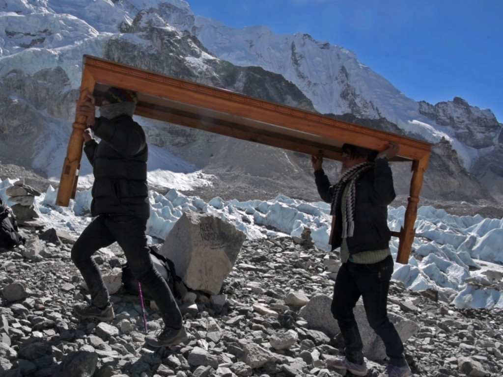 Everest- Table carried by porters