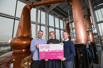 FREE PICTURES :   L to R : Eduardo Fernandez Blanco (The Rotunda), Bridgeen Mullen (Visitor Centre Manager at The Clydeside Distillery) and Ryan James (Glasgow Restaurant Association chairman and owner of Two Fat Ladies)  Pic: Robert Perry