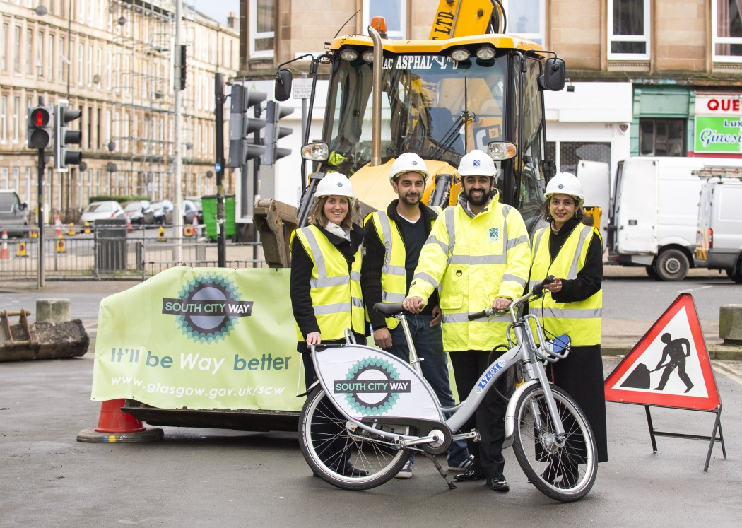 Minister for Transport and Islands, Humza Yousaf at Albert Avenue as work starts on the South City Way.  L-R Cllr Anna Richardson, local business owner Shoaib Shafaatulla, Humza Yousaf, Daisy Narayanan, Sustrans.