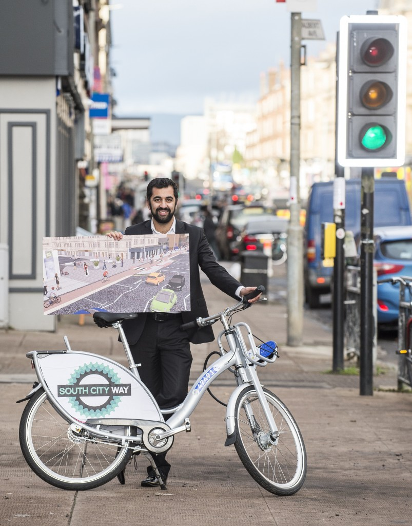 Minister for Transport and Islands, Humza Yousaf at Albert Avenue as work starts on the South City Way.