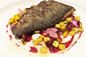 Fillet seabream, beetroot puree, roasted sweetcorn and chilli