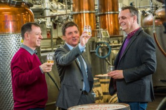 (L-R) Liam Hughes, Ian McDougall and Mike Hayward, co-founders of The Glasgow Distillery Company, raise a dram to toast 1770, their first whisky release   Picture by Chris Watt