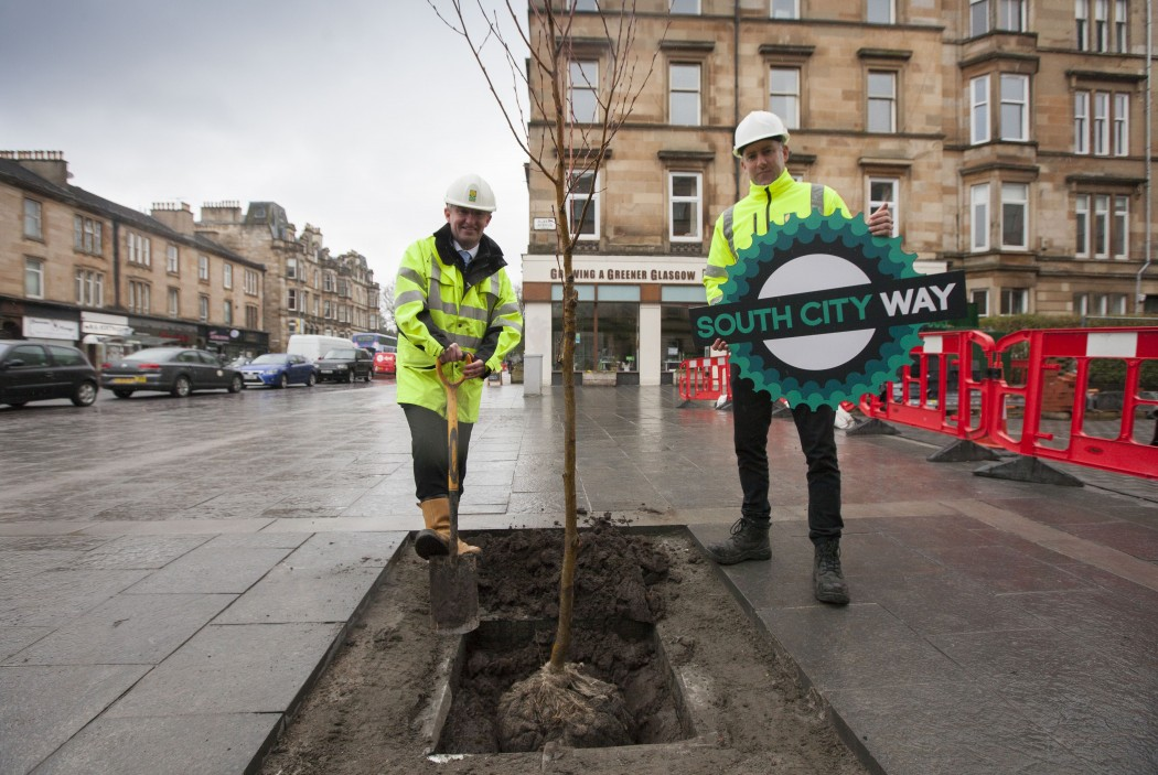 Gerry O'Donnell, engineering officer, and Gary Fagan, road inspector, of Glasgow City Council at SCW tree planting