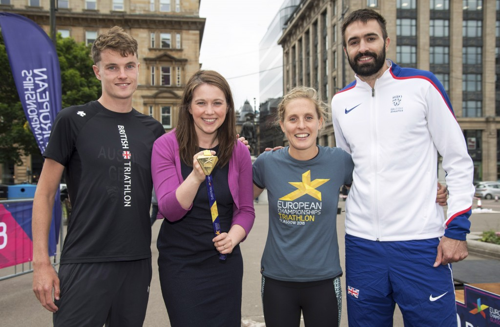 (L-R) Marc Austin, Sports Minister Aileen Campbell, Jess Learmonth and Martyn Rooney.