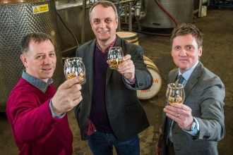 (L-R) Liam Hughes, Mike Hayward and Ian McDougall, co-founders of The Glasgow Distillery Company, raise a dram to toast 1770, their first whisky release (1)