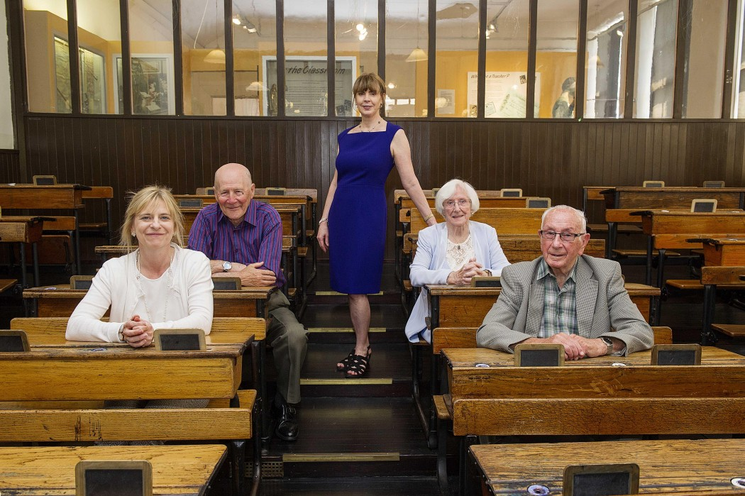 Scottish artist and filmmaker Margaret Moore and former  pupils former pupils (left to right)  Ruth Sills, William Everitt, film maker Margaret Moore, Nan Tindle , Alex McKinlay bring to life a hundred years of memories