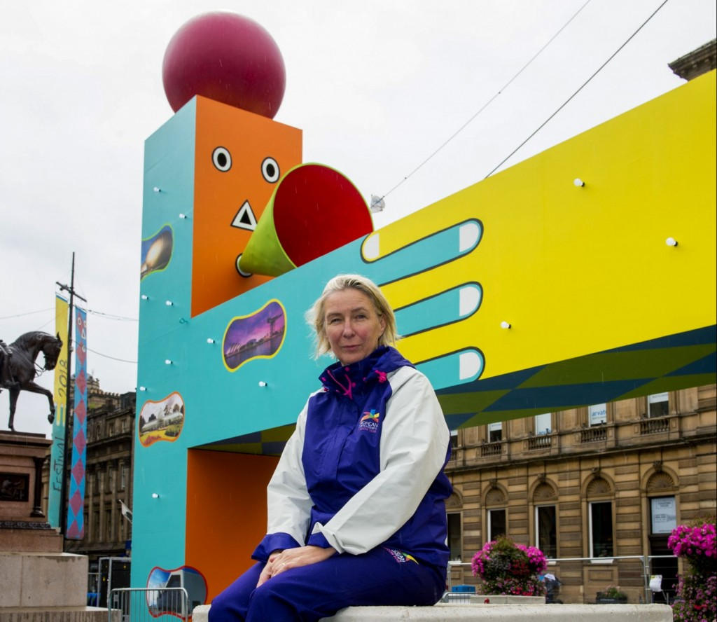 Glasgow 2018 Cultural Producer Katie Nicoll at the Beats Per Minute art installation in George Square.