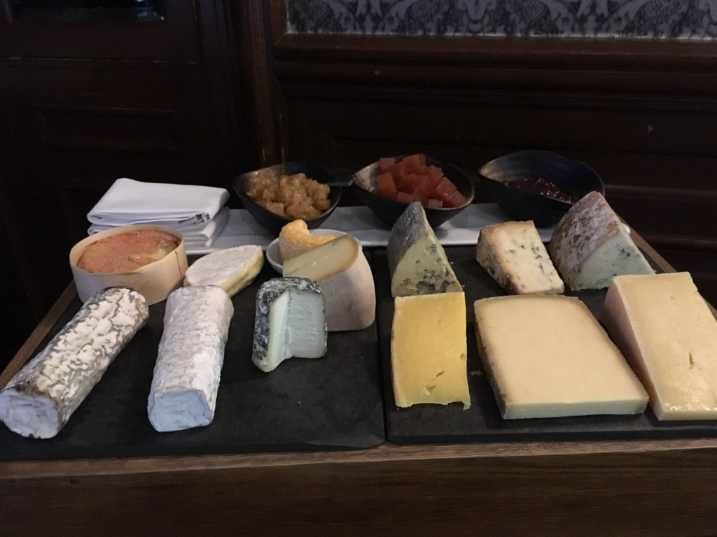 Cheese trolley selection at One Devonshire Gardens, photo by Alan Brady