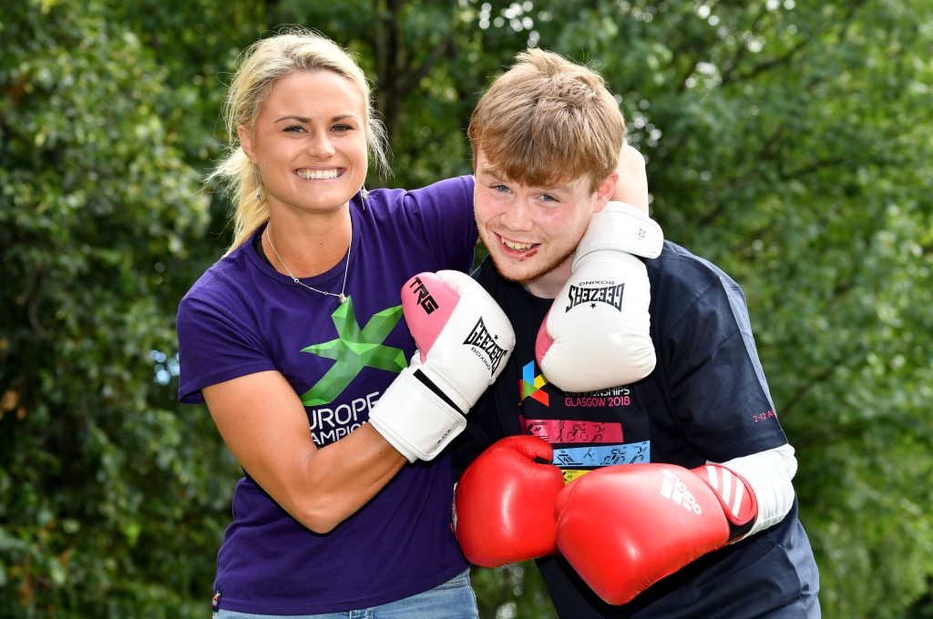 Glasgow 2018 ambassador Carly Booth and Charlie Flynn