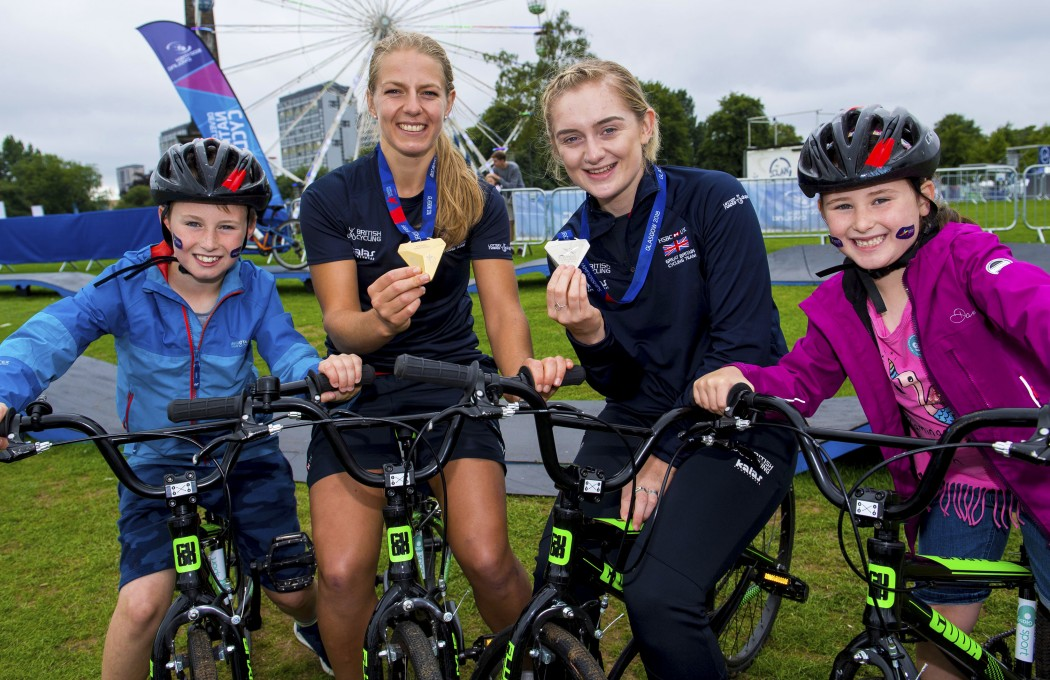 (L/R) Jamie Rodger, Neah Evens (Gold in Women's Team Pursuit) Emily Kay (Silver Womens 10k scratch race) and Holy Rodger enjoying the fun at Go LIVE at Glasgow Green.