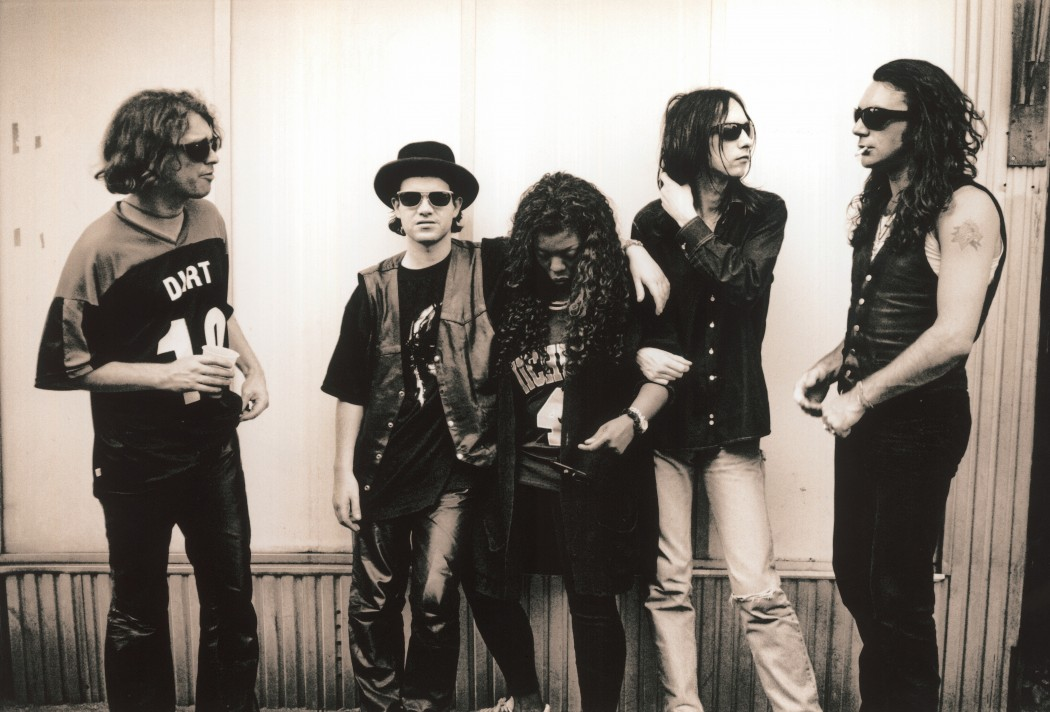 British rock group Primal Scream pictured in the 1990s. Left to Right Andrew Innnes, Martin Duffy, Denise Johnson, Bobby Gillespie and Robert Throb Young