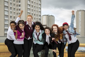 GLASGOW GIRLS TO MAKE KING'S THEATRE DEBUT L to r Patricia Panther, Stephanie McGregor, Kara Swinney , Sophia Lewis , Chaira Sparks , Shannon Swan, Aryana Ramikhalawon   Pic: Martin Shields