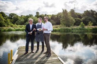 The Botany restaurant chef  John Paul Lappin with Alan Tomkins ( NAVY SUIT ) and Calum Lawson. directors at Glasgow Bars Ltd and Calum is General Manager of The Botany.