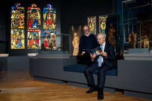 Burrell at Kelvingrove: Collecting Medieval Treasures. Pictured: James Robinson (Burrell Renaissance) (L) and Sir Paul Ruddock (curator).