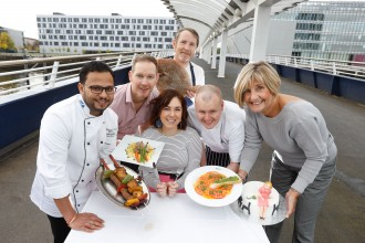 FREE PICTURES Pictured  Manish Kaushik from Masala Twist  John Burns Chez Mal - stripey apron Ryan James Two Fat Ladies big brill fish Luke Tracey from The Square Bar and Restaurant (pink shirt) Anne Mulhern  The Willow Tearooms Katie Louisa Easton from Mama Says Blog